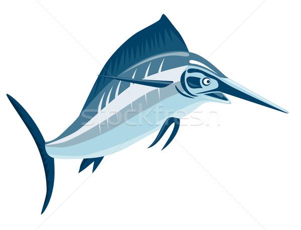 Zwaardvis springen illustratie geïsoleerd witte retro-stijl Stockfoto © patrimonio