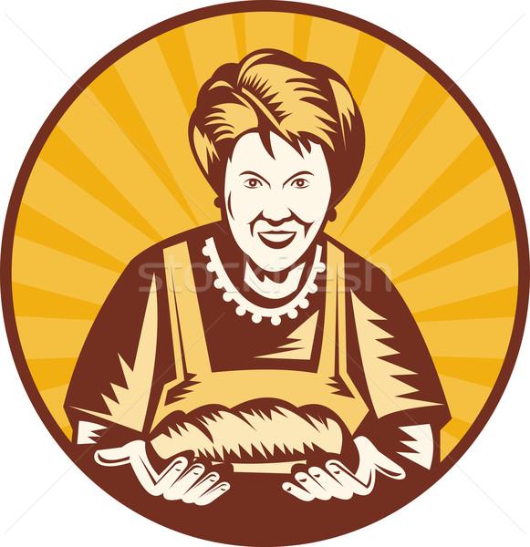 Nagymama nagyi pék szakács cipó kenyér Stock fotó © patrimonio