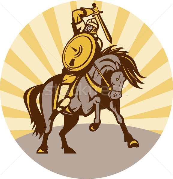 warrior with shield and sword on horse Stock photo © patrimonio