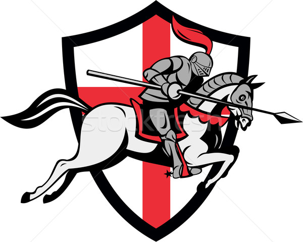 Angol lovag lovaglás ló Anglia zászló Stock fotó © patrimonio