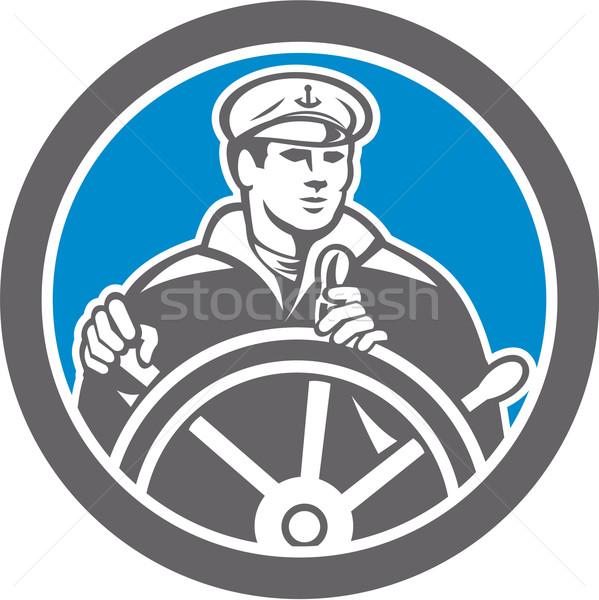 Fisherman Sea Captain Circle Retro Stock photo © patrimonio