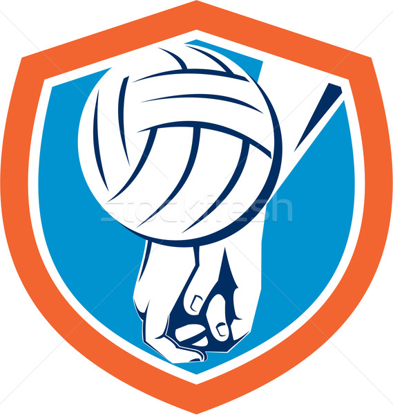 Hand Hitting Volleyball Ball Shield Retro Stock photo © patrimonio