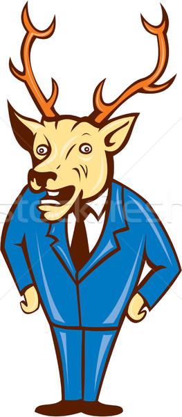Stag Deer Hands on Hips Standing Cartoon Stock photo © patrimonio