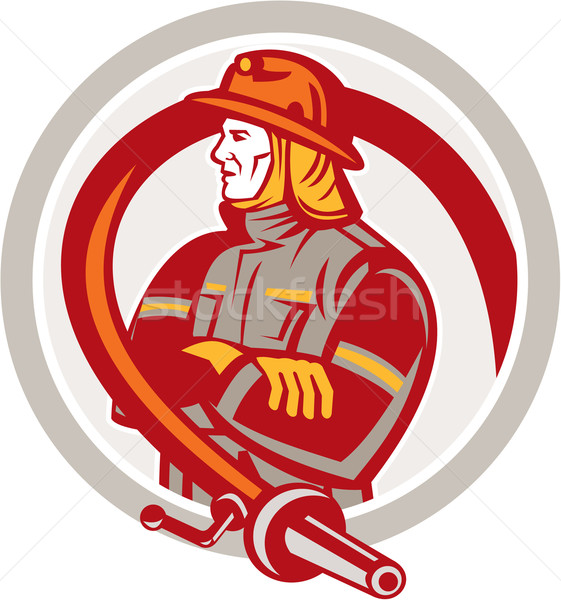 Fireman Firefighter Standing Folding Arms Circle Stock photo © patrimonio