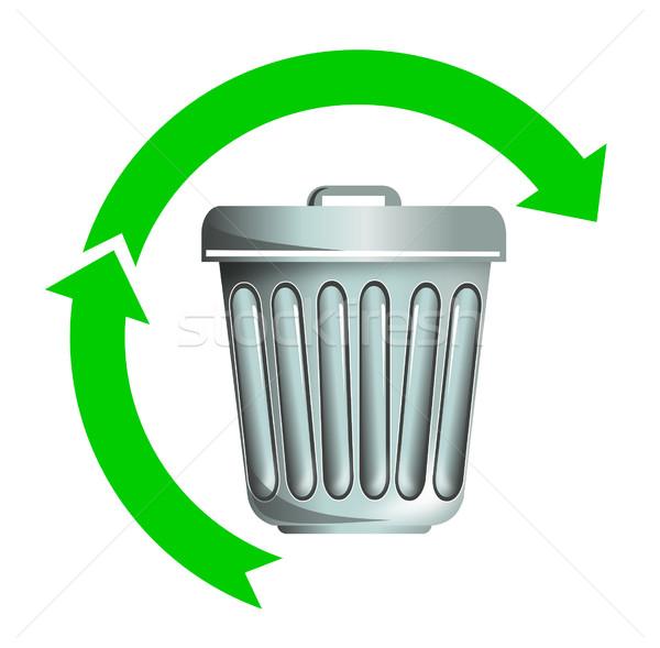 Cesto de lixo metade verde seta ilustração Foto stock © patrimonio