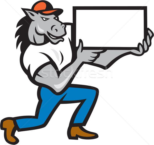 Ló térdel bemutat rajz illusztráció tart Stock fotó © patrimonio