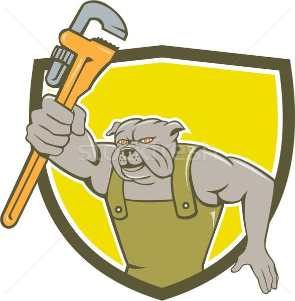 Bulldog Plumber Monkey Wrench Shield Cartoon Stock photo © patrimonio