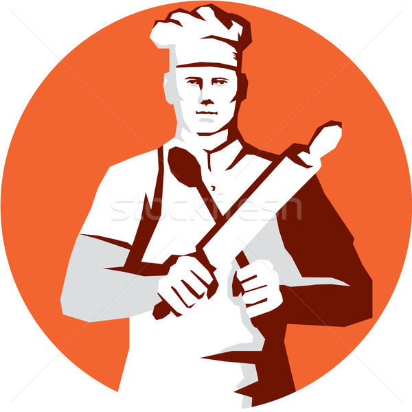 Chef Cook Rolling Pin Spatula Stencil Stock photo © patrimonio