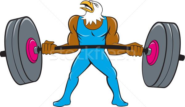 Kaal adelaar gewichtheffer barbell cartoon Stockfoto © patrimonio
