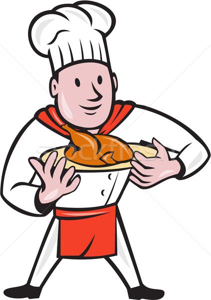 Kucharz gotować pieczony kurczak naczyń cartoon ilustracja Zdjęcia stock © patrimonio
