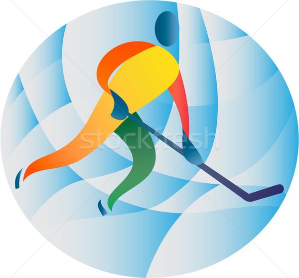 Hokej gracz kółko retro ilustracja skating Zdjęcia stock © patrimonio