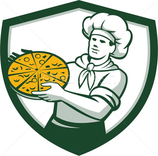 Pizza Chef Holding Pizza Shield Retro Stock photo © patrimonio