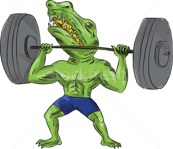 Sobek Weightlifter Lifting Barbell Caricature Stock photo © patrimonio