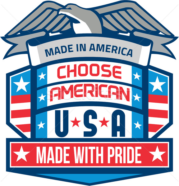Made In America Patriotic Shield Retro Stock photo © patrimonio