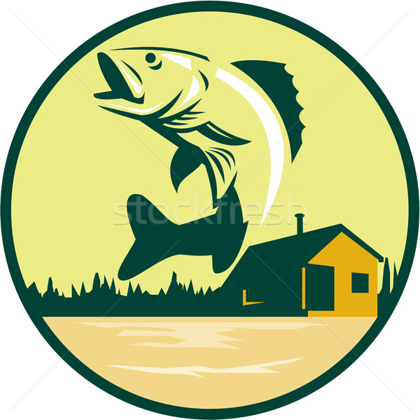 Walleye Fish Lake Lodge Cabin Circle Retro Stock photo © patrimonio