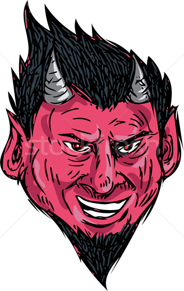Demon Horns Goatee Head Drawing Stock photo © patrimonio