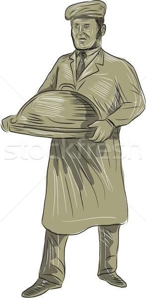Victorian Waiter Serving Food Platter Drawing Stock photo © patrimonio