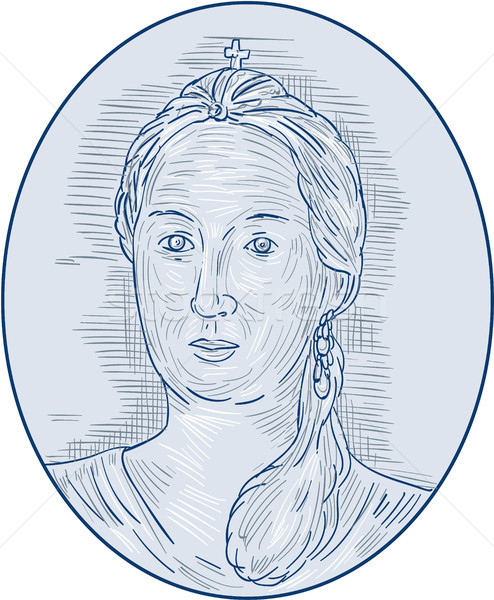 18th Century Russian Empress Bust Oval Drawing Stock photo © patrimonio