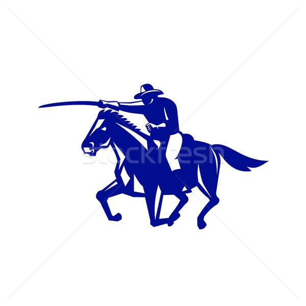 Americano caballería retro estilo retro ilustración Estados Unidos Foto stock © patrimonio