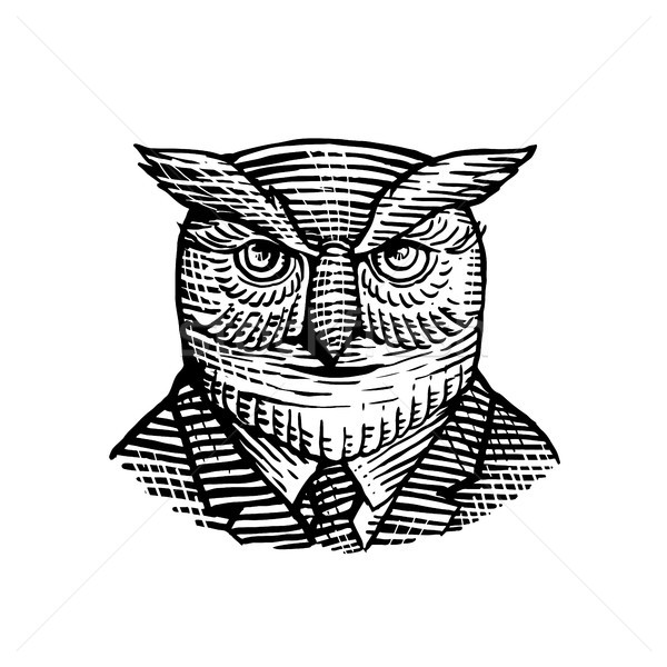Hipster Owl Suit Woodcut Stock photo © patrimonio