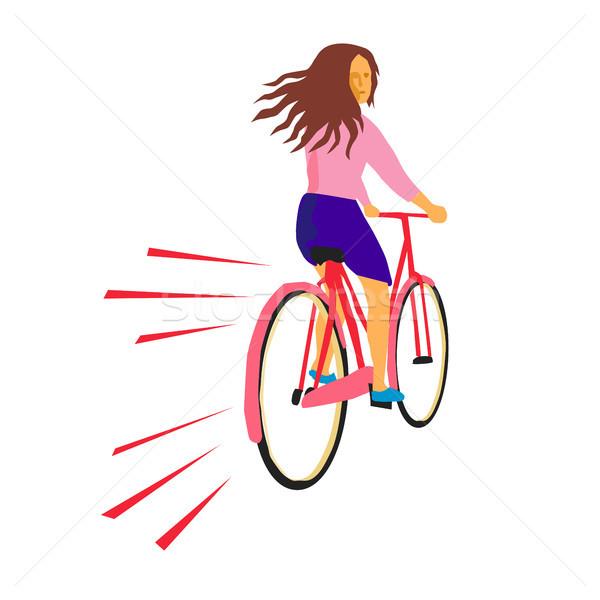 Dziewczyna jazda konna vintage rower retro w stylu retro Zdjęcia stock © patrimonio