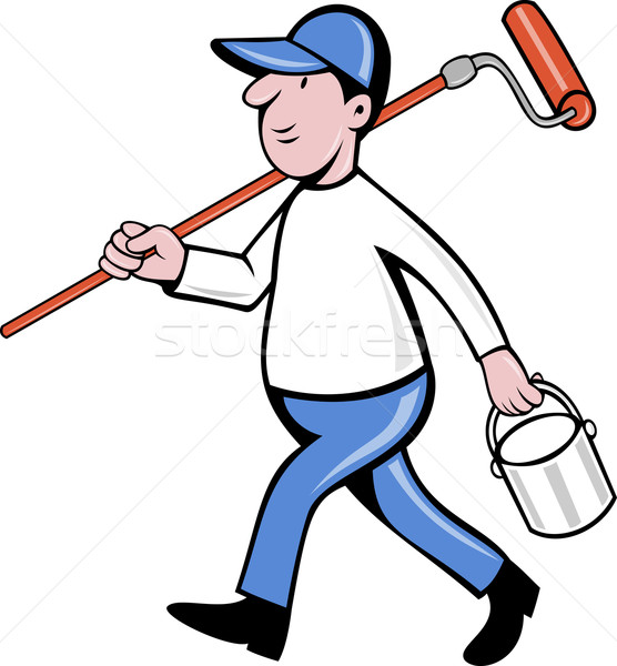 House painter with painting roller paint can Stock photo © patrimonio