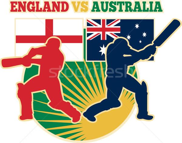 cricket sports batsman England vs Australia flag Stock photo © patrimonio