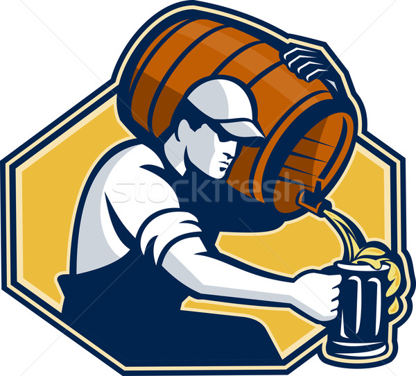 Bartender Worker Pouring Beer From Barrel To Mug Stock photo © patrimonio