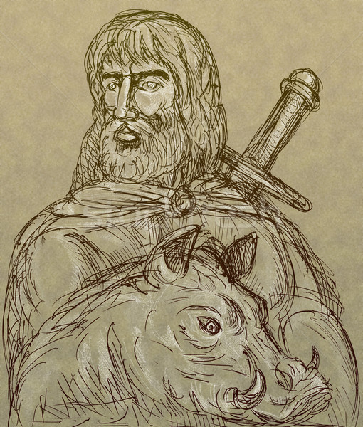 Norse god of agriculture with sword and boar Stock photo © patrimonio