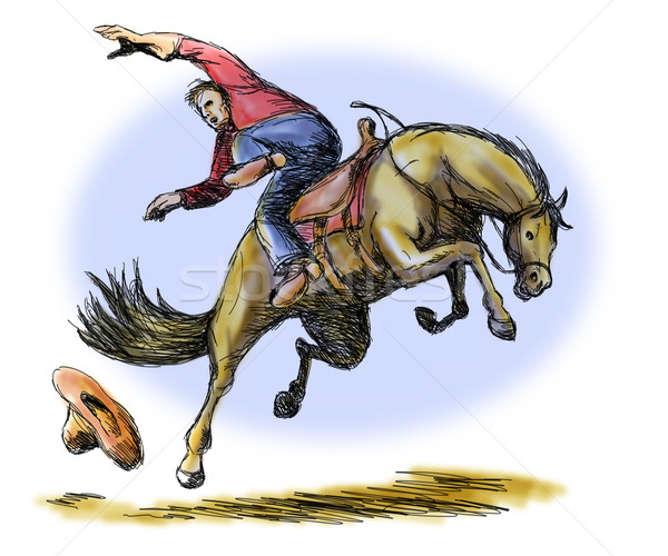 Rodeo Cowboy Falling off Horse Stock photo © patrimonio