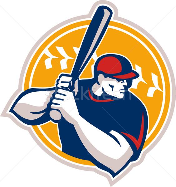 Baseball Batter Hitter Batting Side Retro Stock photo © patrimonio