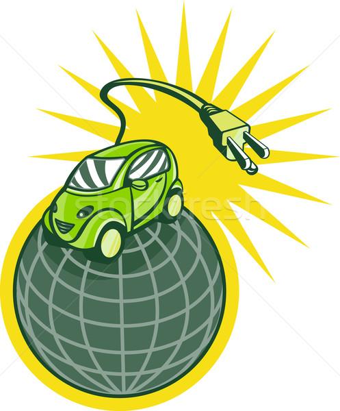 Groene elektrische auto top wereld plug illustratie Stockfoto © patrimonio