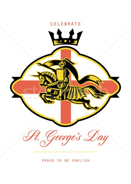 Celebrate St. George Day Proud to Be English Retro Poster Stock photo © patrimonio