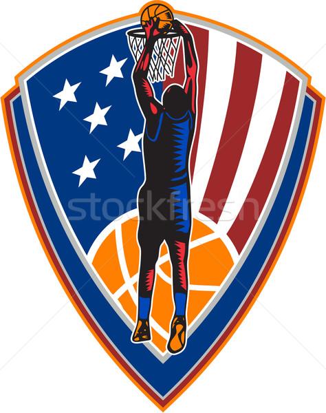 American Basketball Player Dunk Ball Shield Retro Stock photo © patrimonio