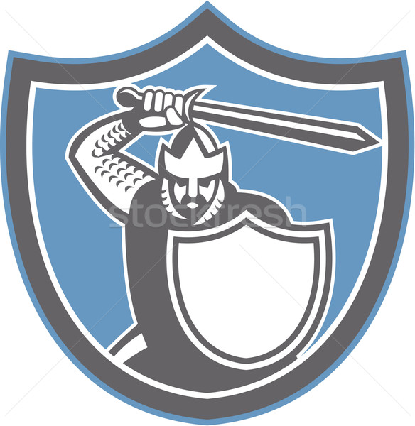 Stock photo: Crusader Knight Brandish Sword Shield Retro