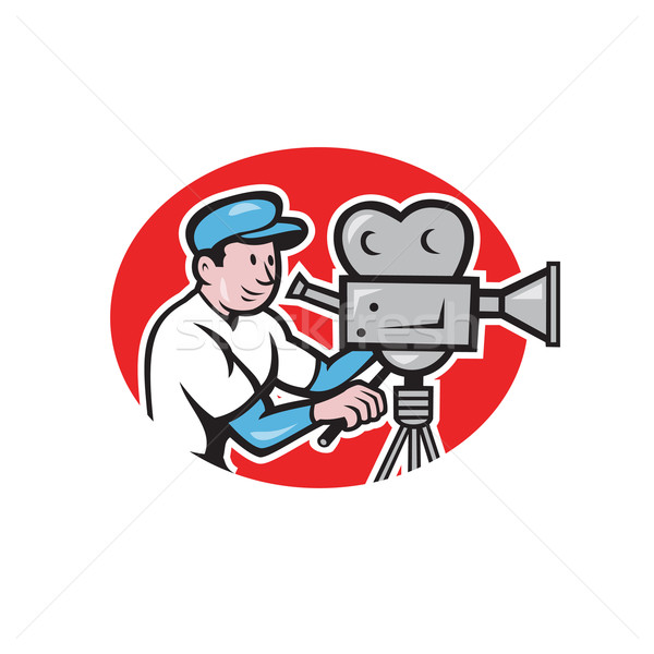 Cameraman Vintage Film Movie Camera Cartoon Stock photo © patrimonio