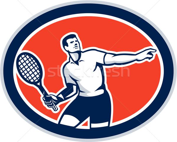 Tennis Player Racquet Oval Retro Stock photo © patrimonio
