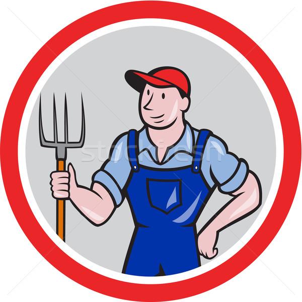 Farmer Holding Pitchfork Circle Cartoon Stock photo © patrimonio