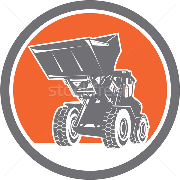 Front End Loader Digger Excavator Circle Retro Stock photo © patrimonio