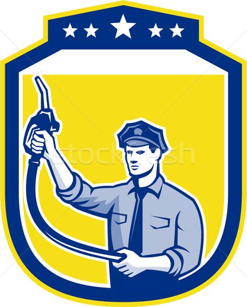 Gas jockey benzine schild illustratie brandstof Stockfoto © patrimonio