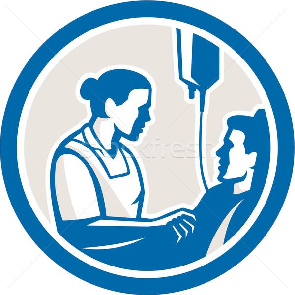Enfermeira doente paciente círculo retro ilustração Foto stock © patrimonio