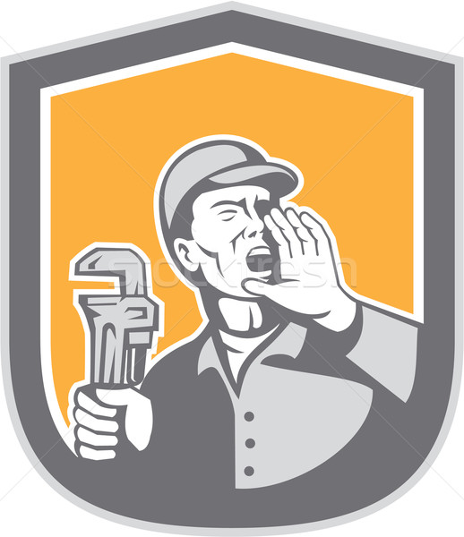 Plumber Shouting Holding Wrench Shield Retro Stock photo © patrimonio