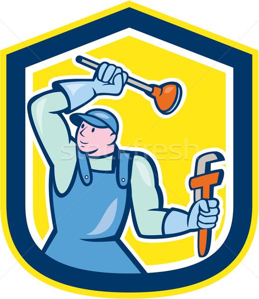 Plumber Wielding Plunger Wrench Shield Cartoon Stock photo © patrimonio