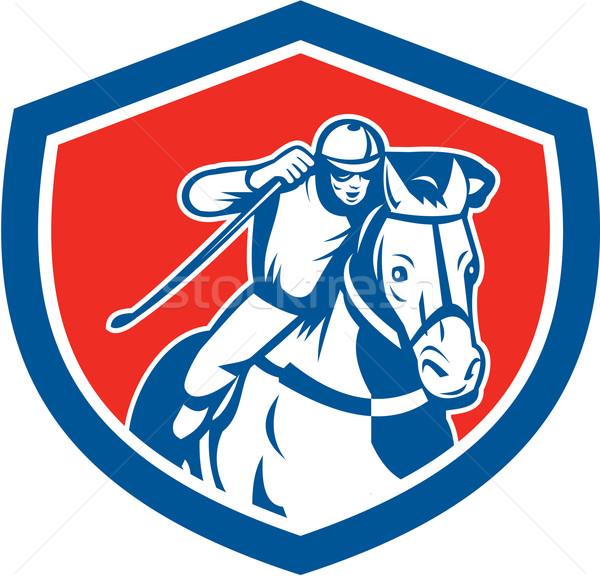 Corrida de cavalos jóquei escudo retro ilustração cavalo Foto stock © patrimonio