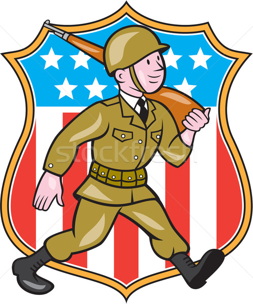 World War Two Soldier American Cartoon Shield Stock photo © patrimonio