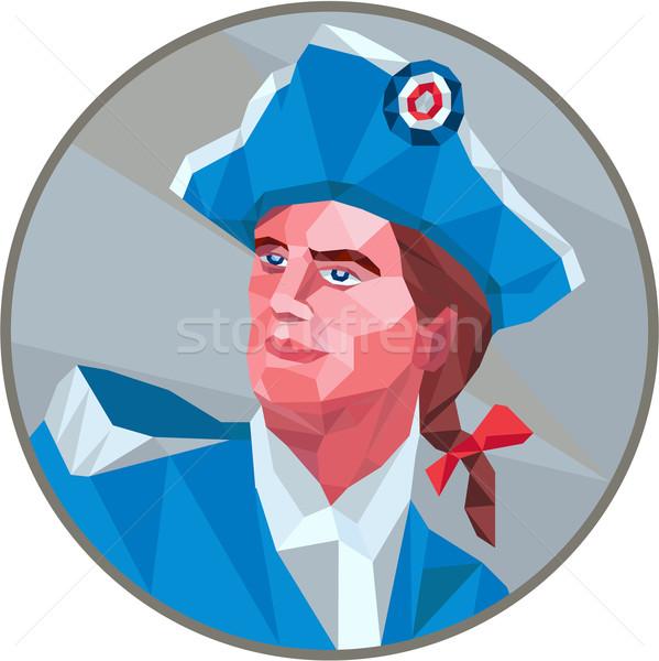 Amerikaanse patriot cirkel laag veelhoek stijl Stockfoto © patrimonio