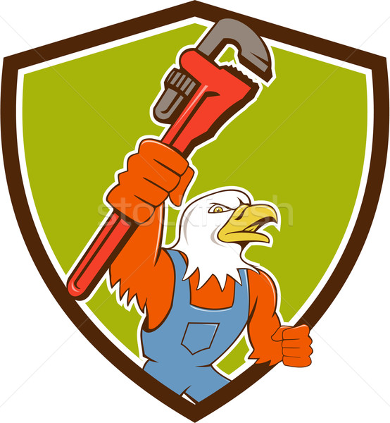 Bald Eagle Plumber Monkey Wrench Crest Cartoon Stock photo © patrimonio