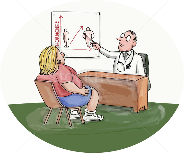 Obese Woman Patient Doctor Caricature Stock photo © patrimonio