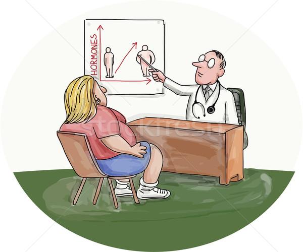 Fettleibig Frau Patienten Arzt Karikatur Illustration Stock foto © patrimonio