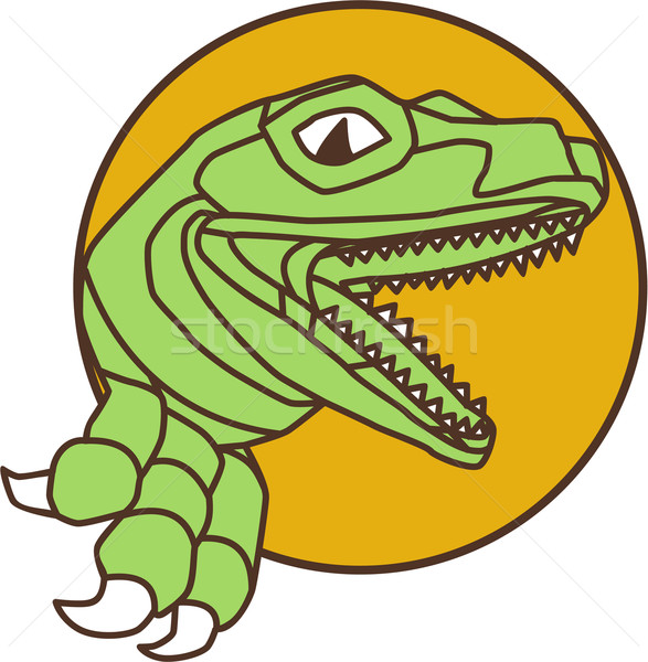 Raptor Head Breaking Out Wall Circle Drawing Stock photo © patrimonio